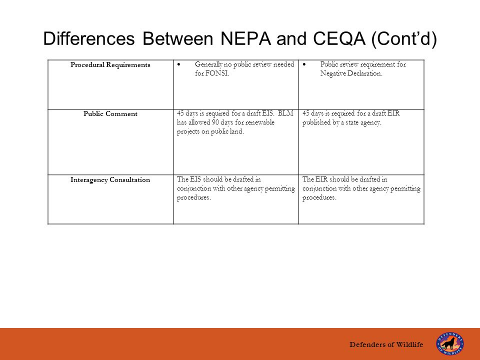 Defenders of Wildlife title here text here Differences Between NEPA and CEQA (Cont'd) Procedural Requirements  Generally no public review needed for FONSI.