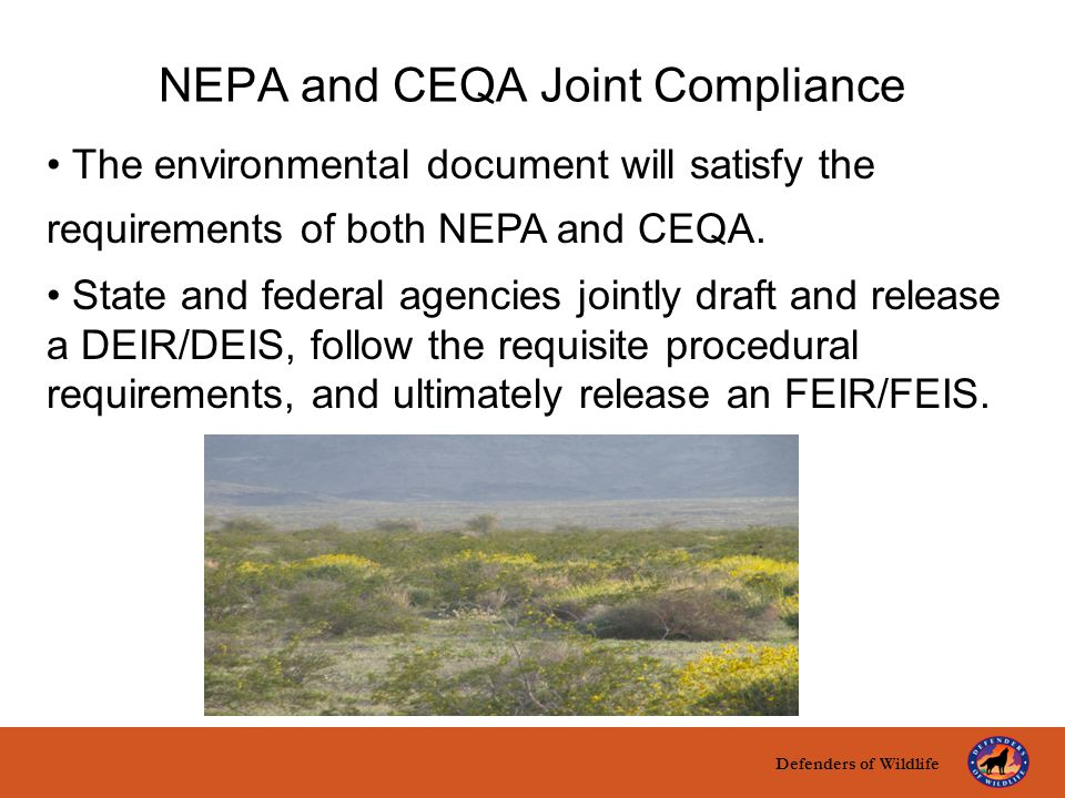 Defenders of Wildlife title here text here NEPA and CEQA Joint Compliance The environmental document will satisfy the requirements of both NEPA and CE