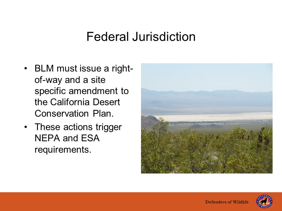 Defenders of Wildlife title here text here Federal Jurisdiction BLM must issue a right- of-way and a site specific amendment to the California Desert