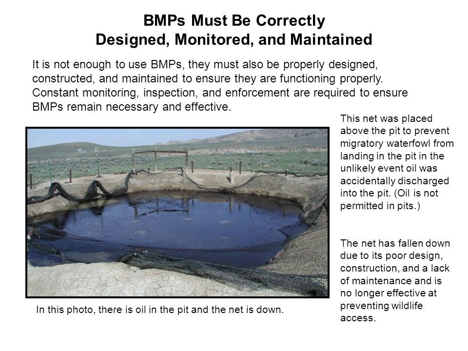 BMPs Must Be Correctly Designed, Monitored, and Maintained In this photo, there is oil in the pit and the net is down.