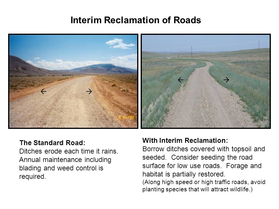 Interim Reclamation of Roads The Standard Road: Ditches erode each time it rains.