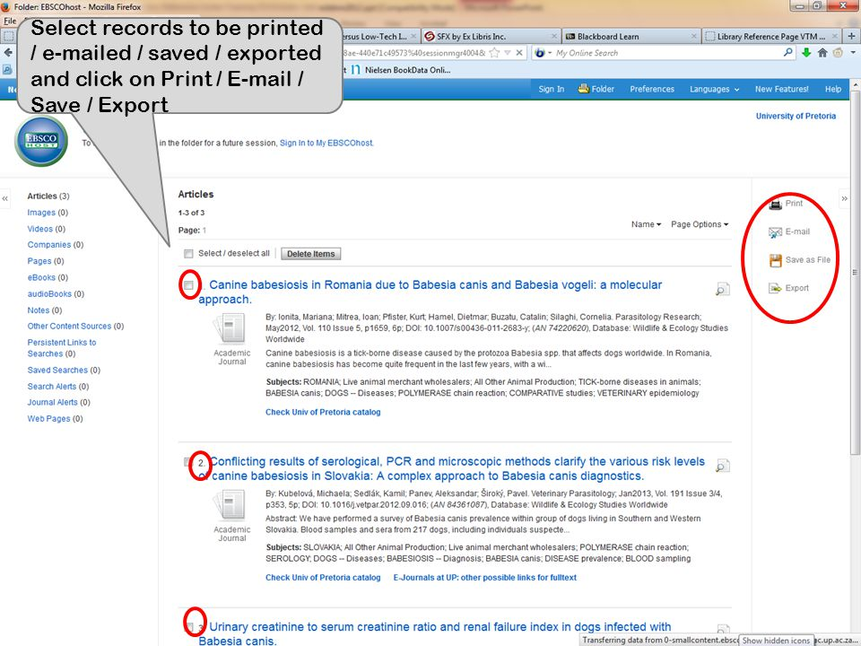 Select records to be printed / e-mailed / saved / exported and click on Print / E-mail / Save / Export