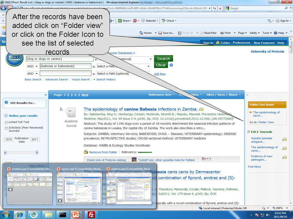 "After the records have been added click on ""Folder view"" or click on the Folder Icon to see the list of selected records"