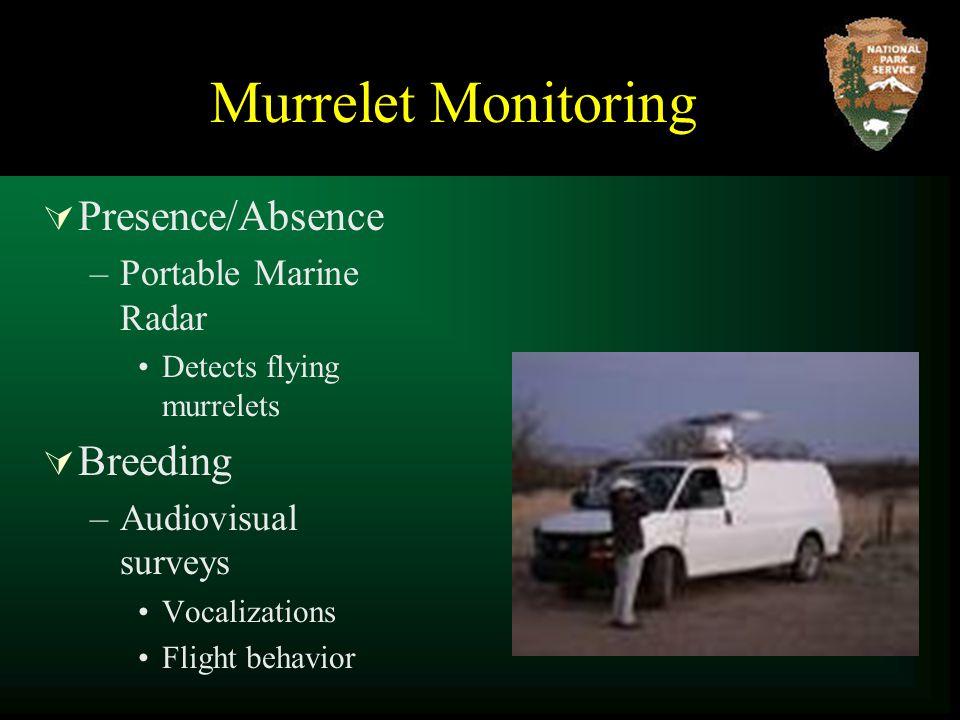  Presence/Absence –Portable Marine Radar Detects flying murrelets  Breeding –Audiovisual surveys Vocalizations Flight behavior
