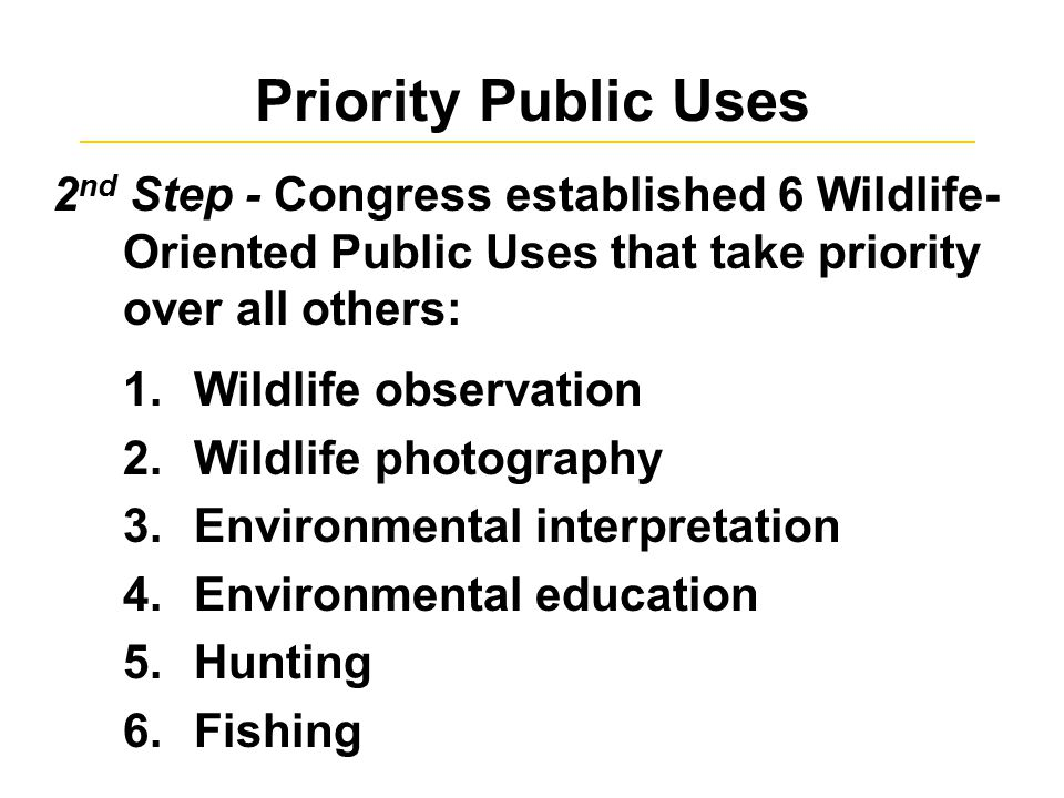 Priority Public Uses 2 nd Step - Congress established 6 Wildlife- Oriented Public Uses that take priority over all others: 1.Wildlife observation 2.Wildlife photography 3.Environmental interpretation 4.Environmental education 5.Hunting 6.Fishing