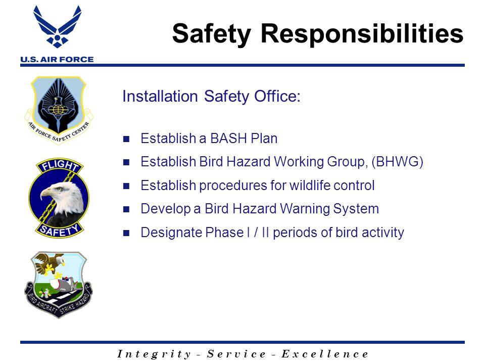 I n t e g r i t y - S e r v i c e - E x c e l l e n c e Establish a BASH Plan Establish Bird Hazard Working Group, (BHWG) Establish procedures for wildlife control Develop a Bird Hazard Warning System Designate Phase I / II periods of bird activity Installation Safety Office: Safety Responsibilities