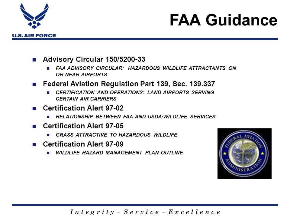 I n t e g r i t y - S e r v i c e - E x c e l l e n c e Advisory Circular 150/5200-33 FAA ADVISORY CIRCULAR: HAZARDOUS WILDLIFE ATTRACTANTS ON OR NEAR AIRPORTS Federal Aviation Regulation Part 139, Sec.