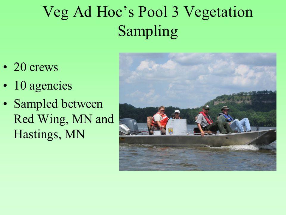 Veg Ad Hoc's Pool 3 Vegetation Sampling 20 crews 10 agencies Sampled between Red Wing, MN and Hastings, MN