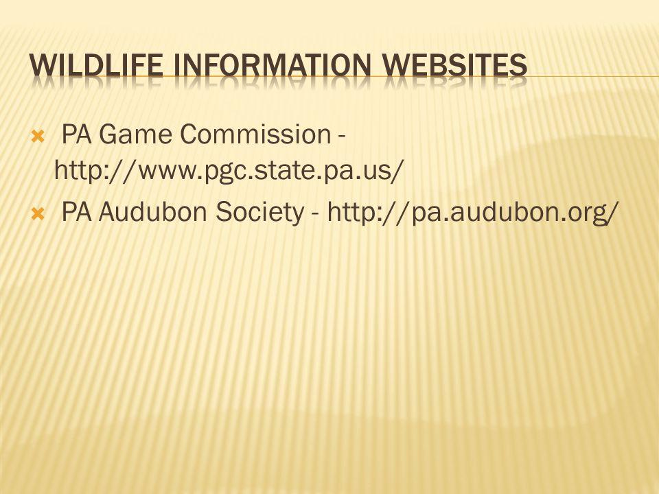  PA Game Commission - http://www.pgc.state.pa.us/  PA Audubon Society - http://pa.audubon.org/