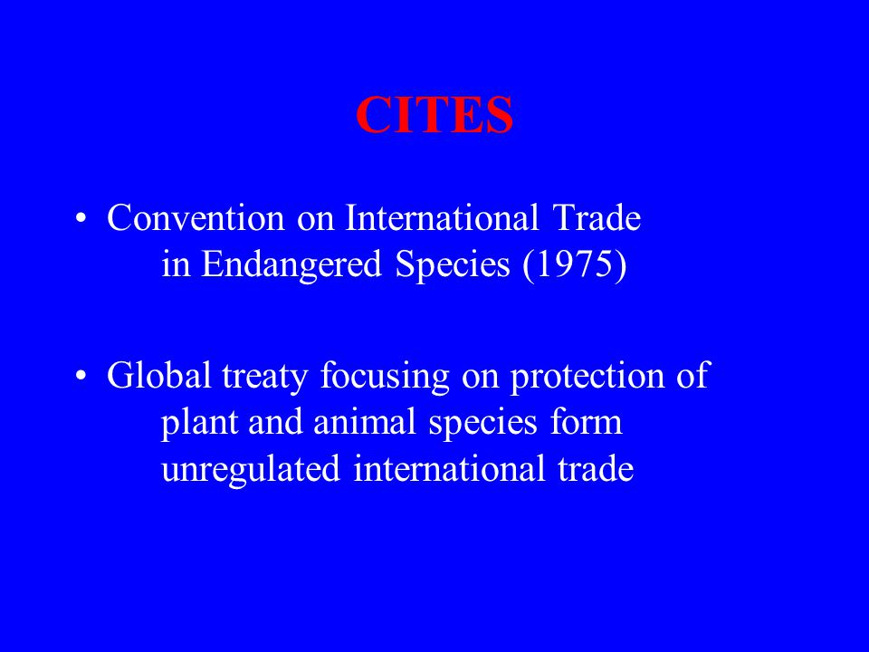 CITES Convention on International Trade in Endangered Species (1975) Global treaty focusing on protection of plant and animal species form unregulated international trade