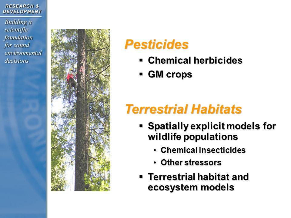 Pesticides  Chemical herbicides  GM crops Terrestrial Habitats  Spatially explicit models for wildlife populations Chemical insecticidesChemical insecticides Other stressorsOther stressors  Terrestrial habitat and ecosystem models Pesticides & Terrestrial Habitats