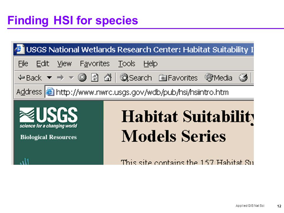 Applied GIS Nat Sci 12 Finding HSI for species