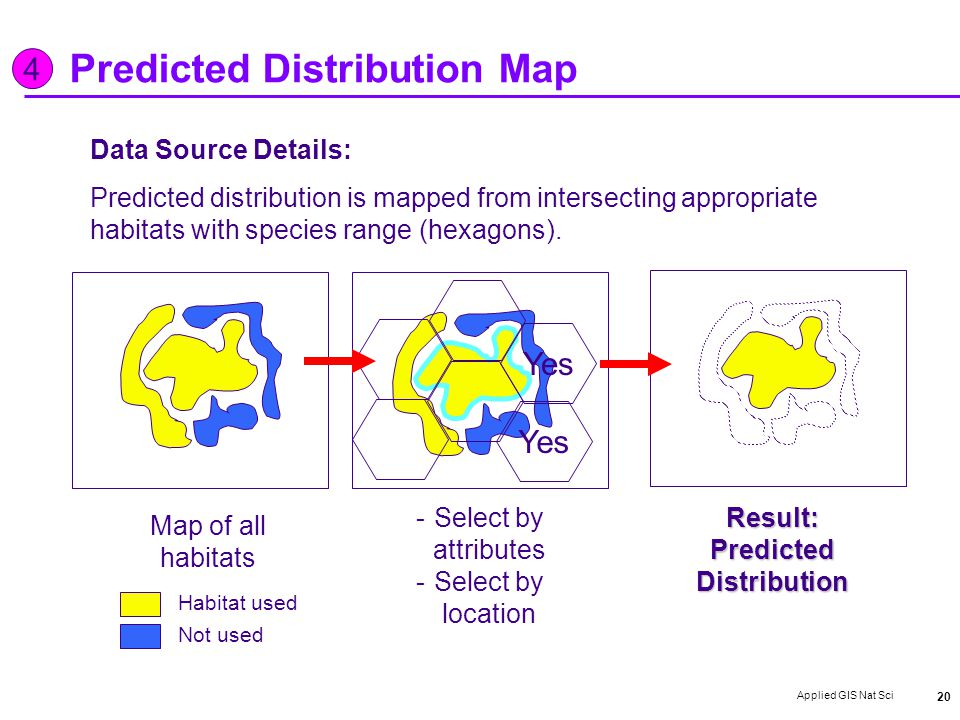 Applied GIS Nat Sci 20 Predicted Distribution Map Data Source Details: Predicted distribution is mapped from intersecting appropriate habitats with species range (hexagons).