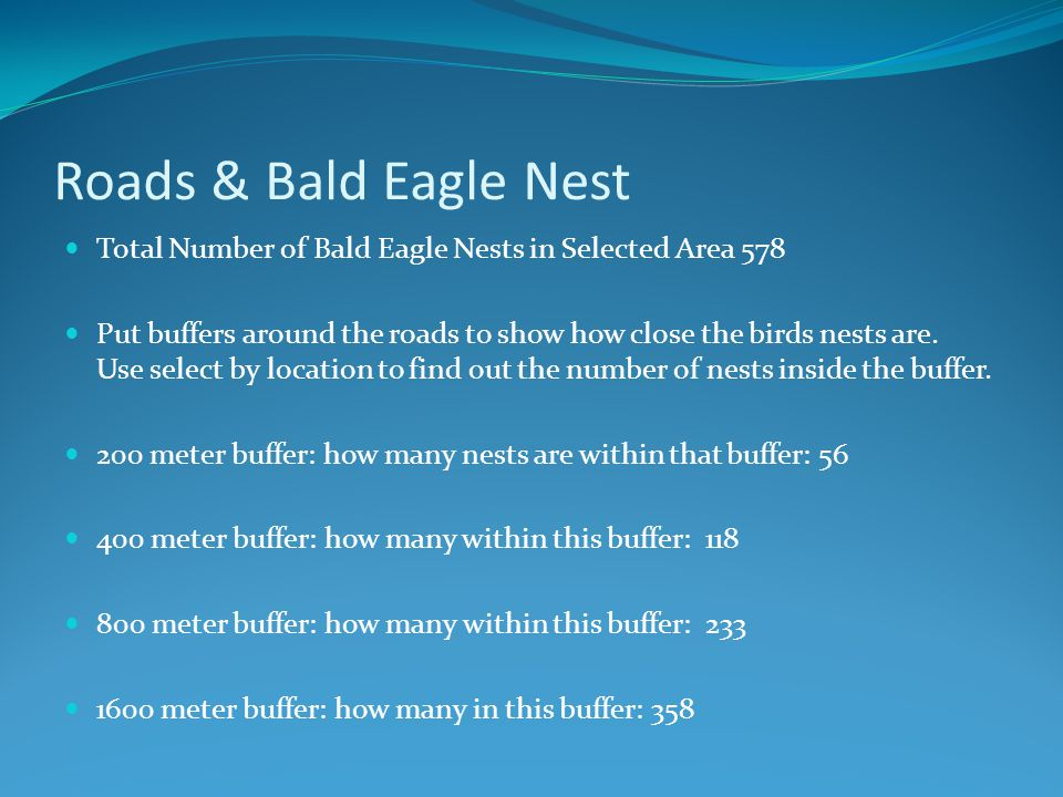 Roads & Bald Eagle Nest Total Number of Bald Eagle Nests in Selected Area 578 Put buffers around the roads to show how close the birds nests are. Use