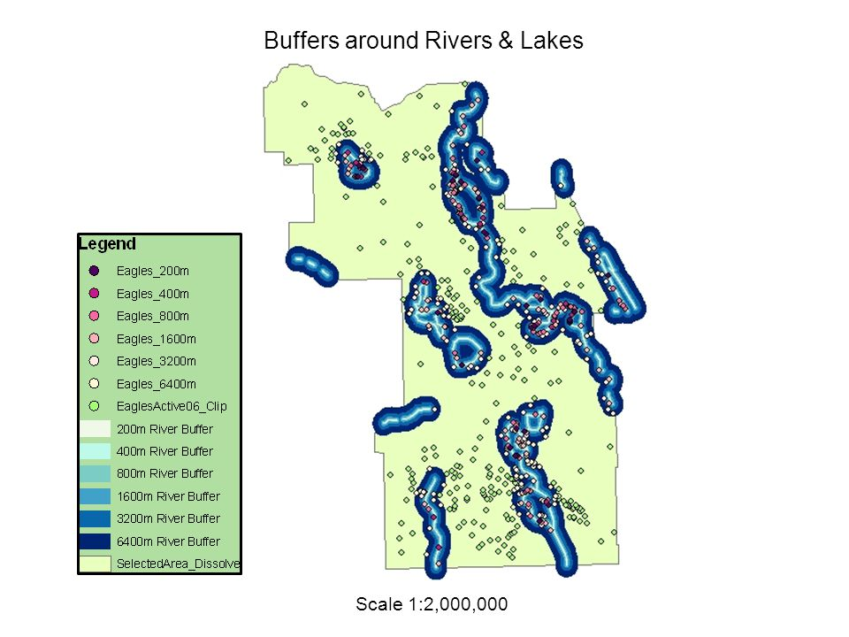 Scale 1:2,000,000 Buffers around Rivers & Lakes