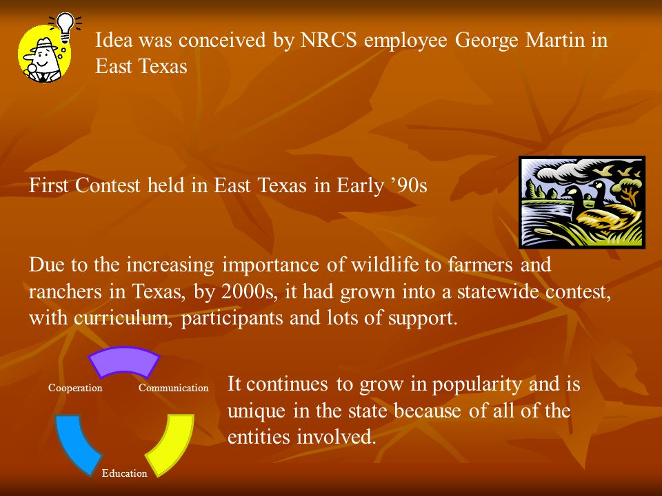 Idea was conceived by NRCS employee George Martin in East Texas First Contest held in East Texas in Early '90s Due to the increasing importance of wildlife to farmers and ranchers in Texas, by 2000s, it had grown into a statewide contest, with curriculum, participants and lots of support.