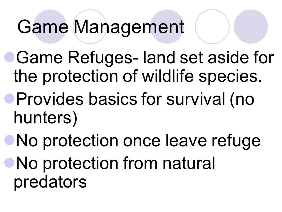 Game Management Game Refuges- land set aside for the protection of wildlife species. Provides basics for survival (no hunters) No protection once leav