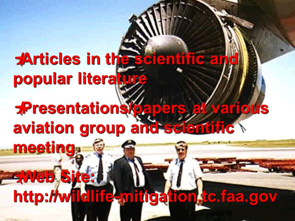 12  Articles in the scientific and popular literature  Presentations/papers at various aviation group and scientific meeting  Web Site: http://wild