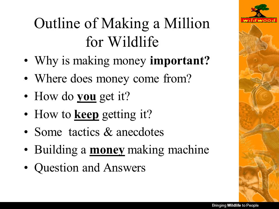 Bringing Wildlife to People Outline of Making a Million for Wildlife Why is making money important.