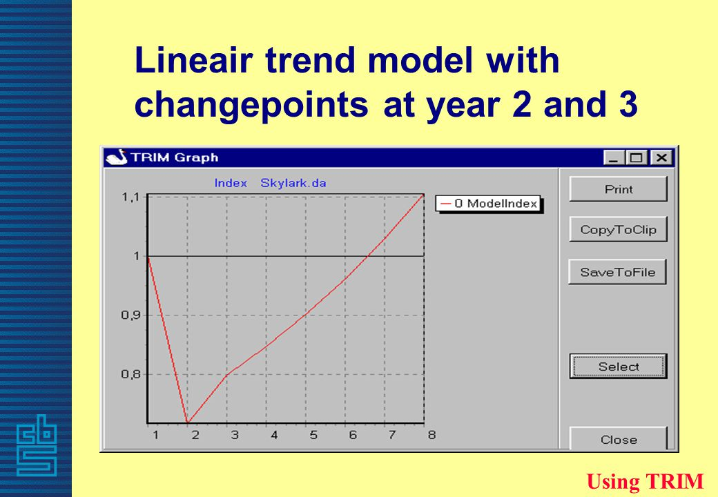 Lineair trend model with changepoints at year 2 and 3 Using TRIM