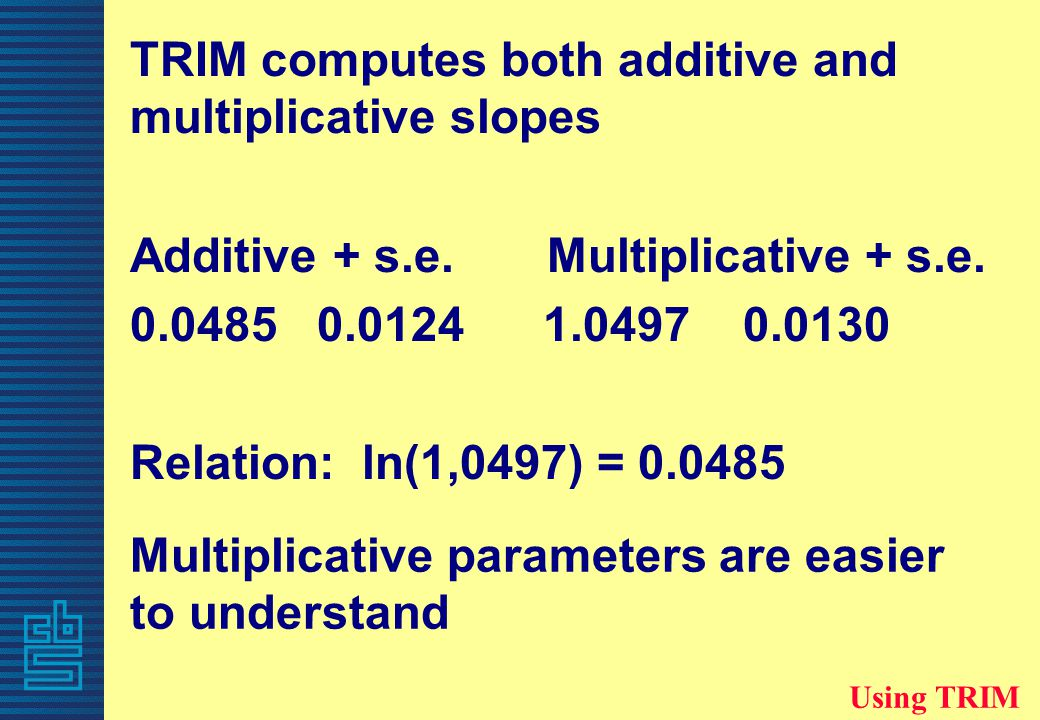 TRIM computes both additive and multiplicative slopes Additive + s.e.