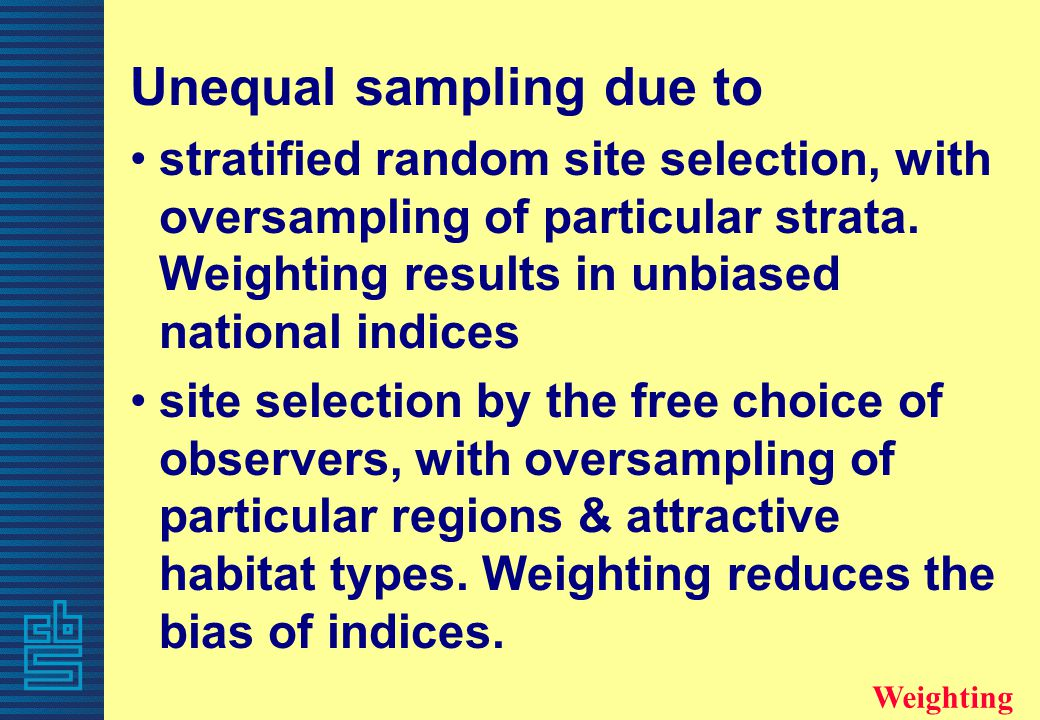 Unequal sampling due to stratified random site selection, with oversampling of particular strata. Weighting results in unbiased national indices site