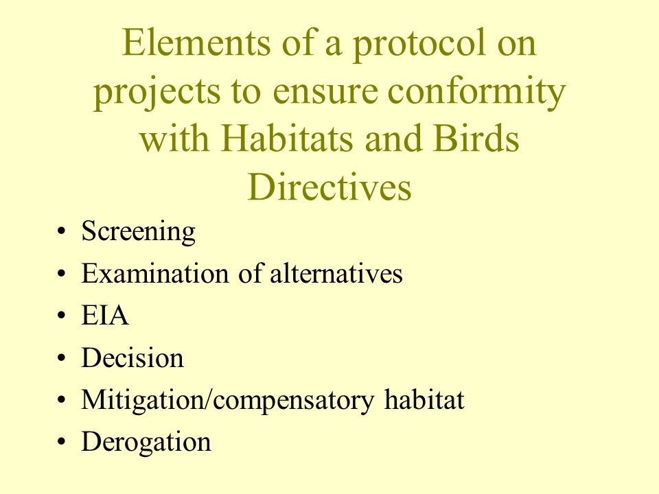 Elements of a protocol on projects to ensure conformity with Habitats and Birds Directives Screening Examination of alternatives EIA Decision Mitigation/compensatory habitat Derogation