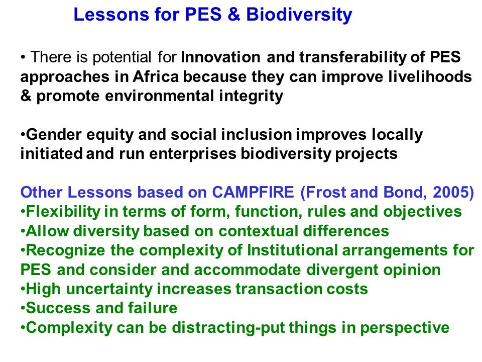 Lessons for PES & Biodiversity There is potential for Innovation and transferability of PES approaches in Africa because they can improve livelihoods & promote environmental integrity Gender equity and social inclusion improves locally initiated and run enterprises biodiversity projects Other Lessons based on CAMPFIRE (Frost and Bond, 2005) Flexibility in terms of form, function, rules and objectives Allow diversity based on contextual differences Recognize the complexity of Institutional arrangements for PES and consider and accommodate divergent opinion High uncertainty increases transaction costs Success and failure Complexity can be distracting-put things in perspective