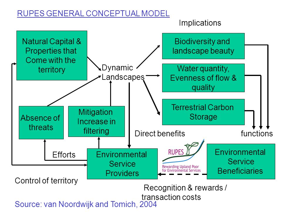 Biodiversity and landscape beauty Water quantity, Evenness of flow & quality Terrestrial Carbon Storage Environmental Service Beneficiaries Environmental Service Providers Mitigation Increase in filtering Absence of threats Natural Capital & Properties that Come with the territory Dynamic Landscapes Implications functionsDirect benefits Control of territory Efforts Recognition & rewards / transaction costs RUPES GENERAL CONCEPTUAL MODEL Source: van Noordwijk and Tomich, 2004