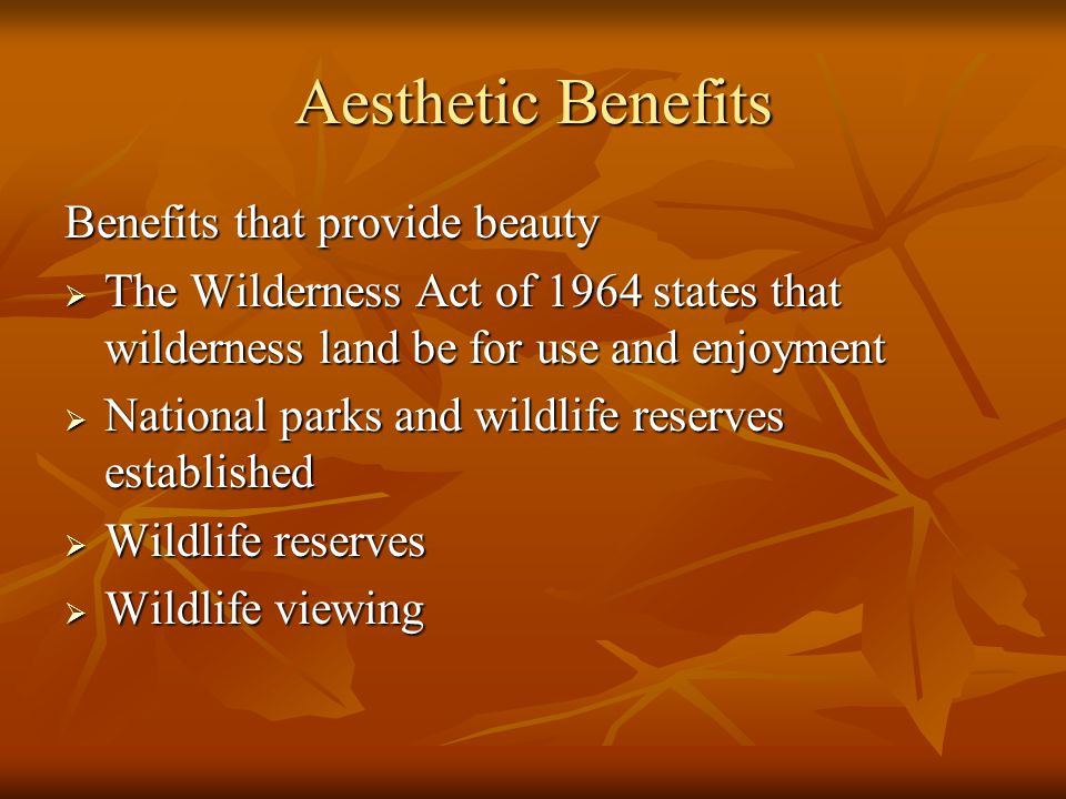 Aesthetic Benefits Benefits that provide beauty  The Wilderness Act of 1964 states that wilderness land be for use and enjoyment  National parks and