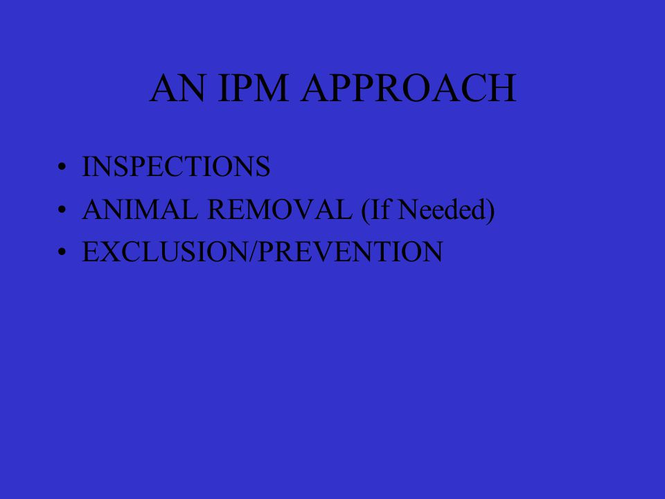 AN IPM APPROACH INSPECTIONS ANIMAL REMOVAL (If Needed) EXCLUSION/PREVENTION