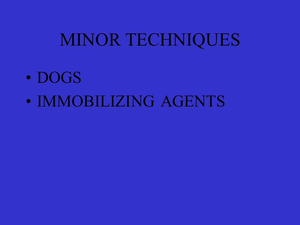 MINOR TECHNIQUES DOGS IMMOBILIZING AGENTS