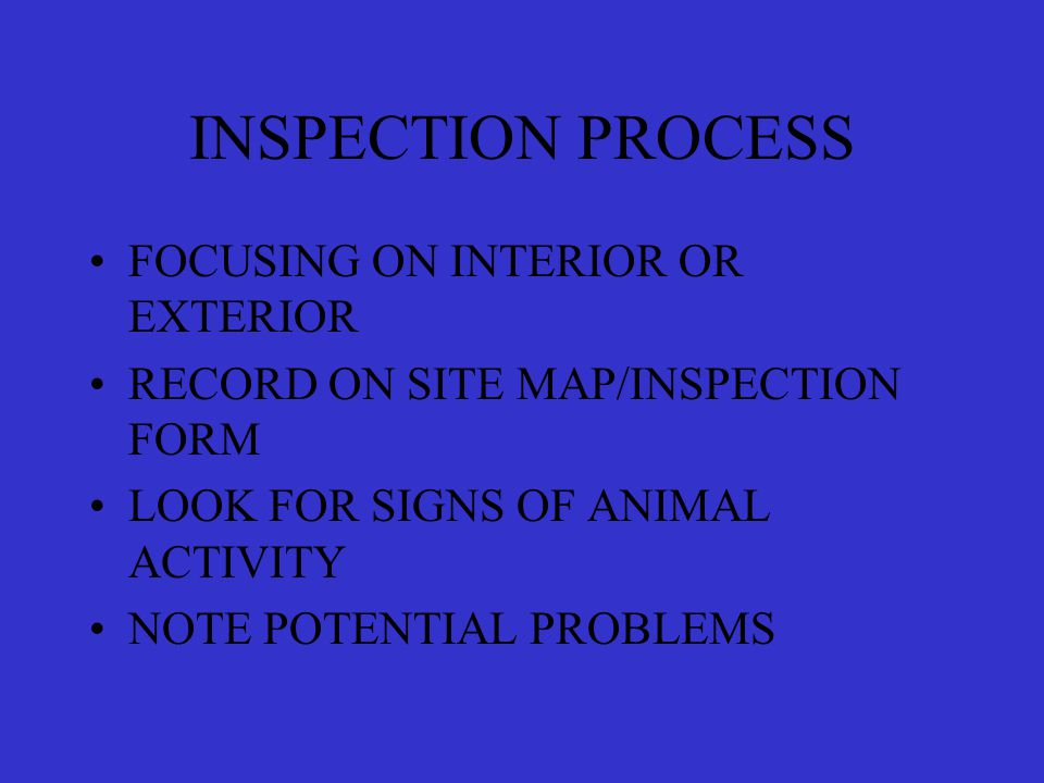 INSPECTION PROCESS FOCUSING ON INTERIOR OR EXTERIOR RECORD ON SITE MAP/INSPECTION FORM LOOK FOR SIGNS OF ANIMAL ACTIVITY NOTE POTENTIAL PROBLEMS
