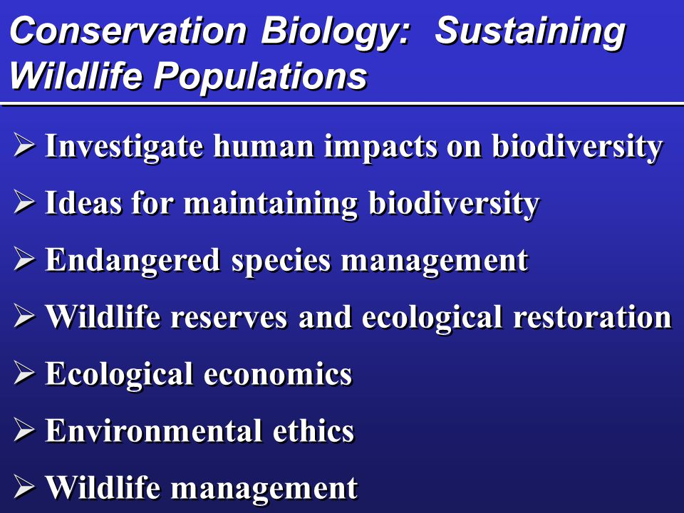 Conservation Biology: Sustaining Wildlife Populations  Investigate human impacts on biodiversity  Ideas for maintaining biodiversity  Endangered species management  Wildlife reserves and ecological restoration  Ecological economics  Environmental ethics  Wildlife management