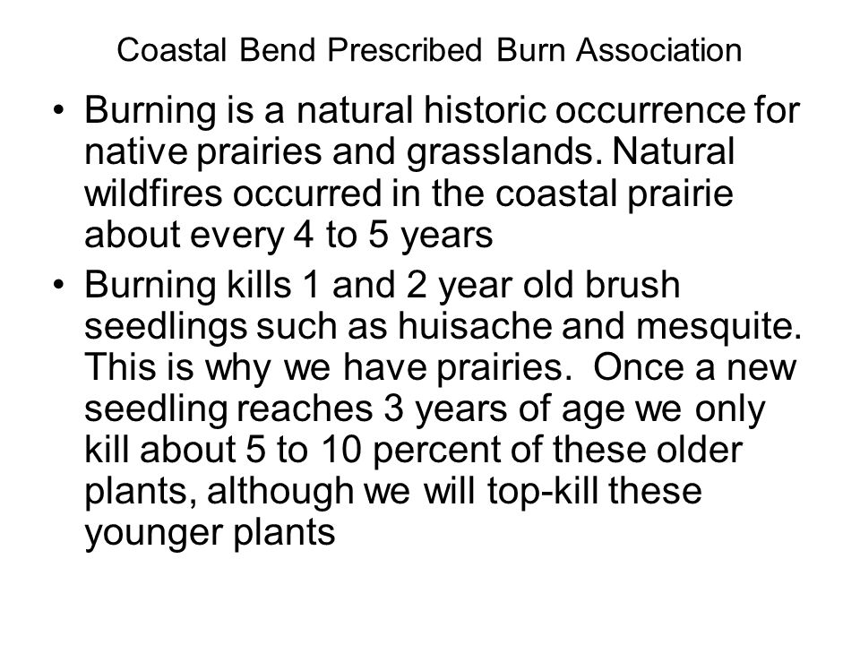 Burning is a natural historic occurrence for native prairies and grasslands.