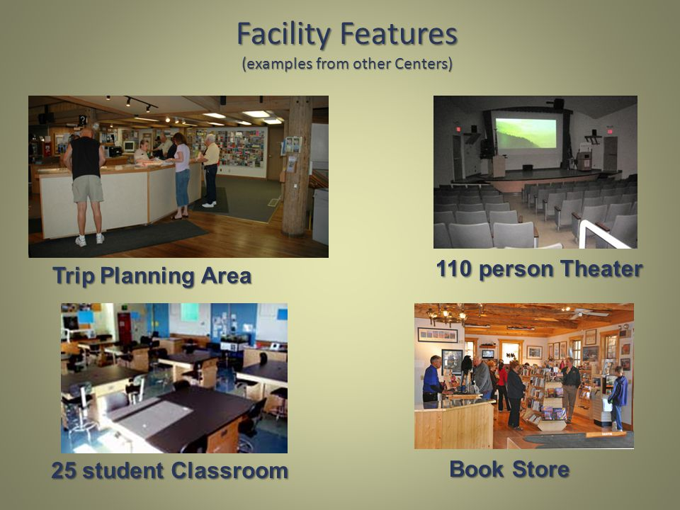 Facility Features (examples from other Centers) 110 person Theater 25 student Classroom Book Store Trip Planning Area
