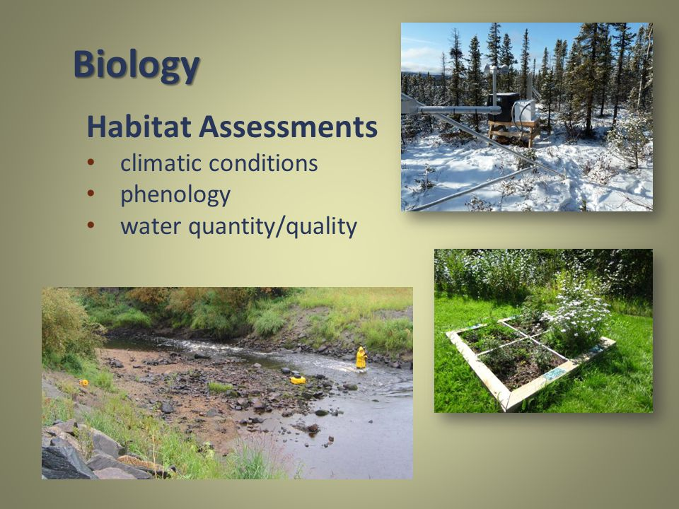 Habitat Assessments climatic conditions phenology water quantity/quality Biology