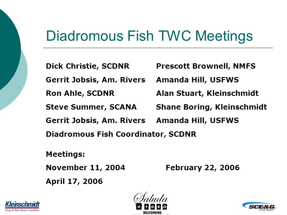 Diadromous Fish TWC Meetings Dick Christie, SCDNRPrescott Brownell, NMFS Gerrit Jobsis, Am.