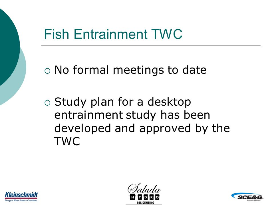 Fish Entrainment TWC  No formal meetings to date  Study plan for a desktop entrainment study has been developed and approved by the TWC