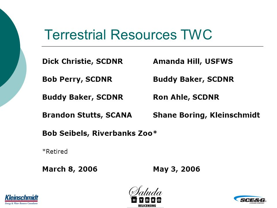 Terrestrial Resources TWC Dick Christie, SCDNRAmanda Hill, USFWS Bob Perry, SCDNRBuddy Baker, SCDNR Ron Ahle, SCDNR Brandon Stutts, SCANAShane Boring, Kleinschmidt Bob Seibels, Riverbanks Zoo* *Retired March 8, 2006May 3, 2006