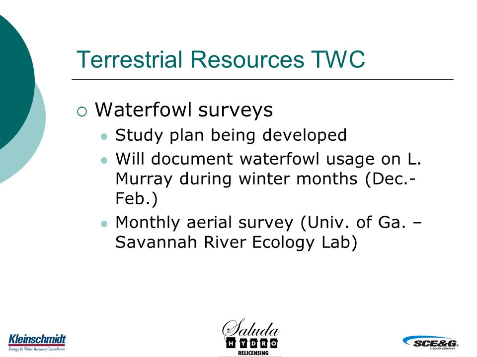Terrestrial Resources TWC  Waterfowl surveys Study plan being developed Will document waterfowl usage on L.