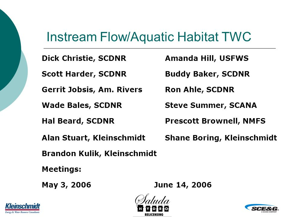 Instream Flow/Aquatic Habitat TWC Dick Christie, SCDNRAmanda Hill, USFWS Scott Harder, SCDNRBuddy Baker, SCDNR Gerrit Jobsis, Am.