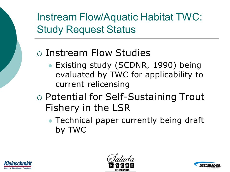 Instream Flow/Aquatic Habitat TWC: Study Request Status  Instream Flow Studies Existing study (SCDNR, 1990) being evaluated by TWC for applicability to current relicensing  Potential for Self-Sustaining Trout Fishery in the LSR Technical paper currently being draft by TWC