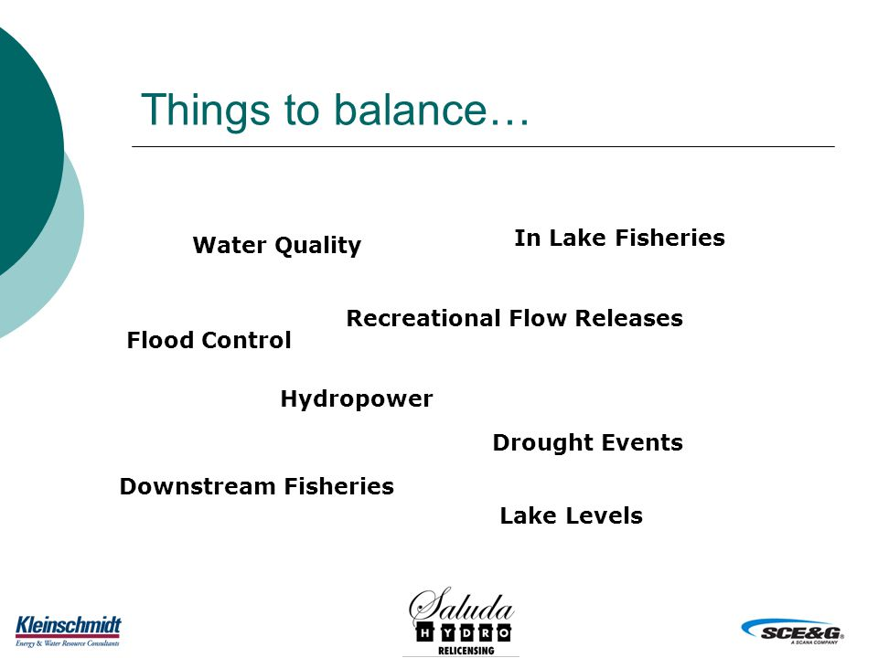 Things to balance… Water Quality Recreational Flow Releases In Lake Fisheries Hydropower Downstream Fisheries Flood Control Lake Levels Drought Events