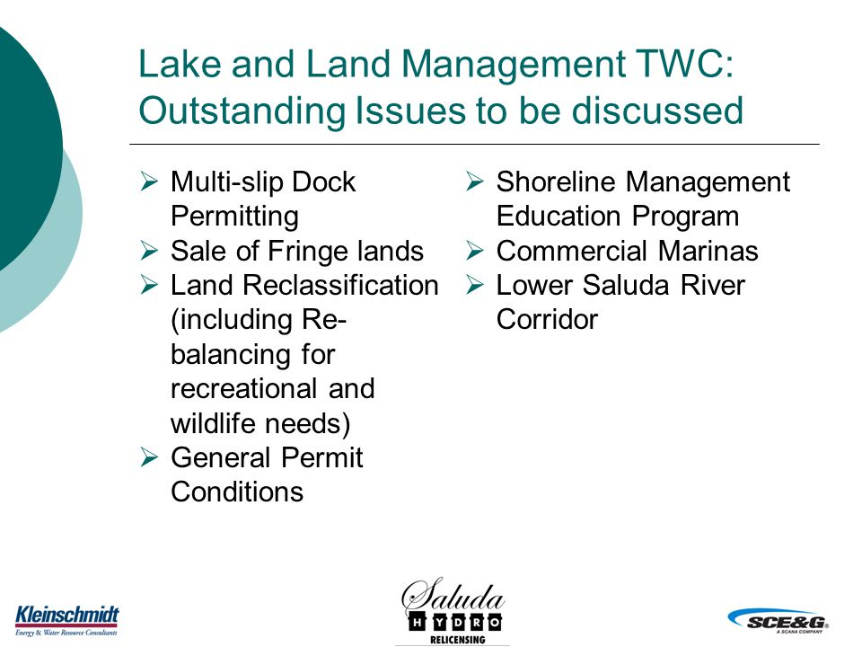 Lake and Land Management TWC: Outstanding Issues to be discussed  Multi-slip Dock Permitting  Sale of Fringe lands  Land Reclassification (including Re- balancing for recreational and wildlife needs)  General Permit Conditions  Shoreline Management Education Program  Commercial Marinas  Lower Saluda River Corridor