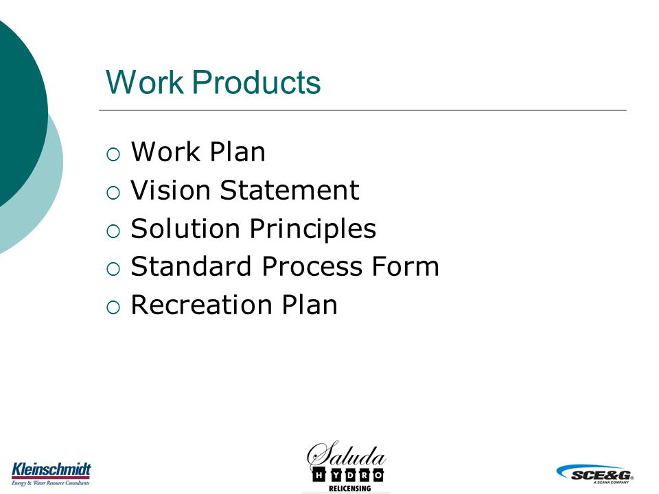 Work Products  Work Plan  Vision Statement  Solution Principles  Standard Process Form  Recreation Plan