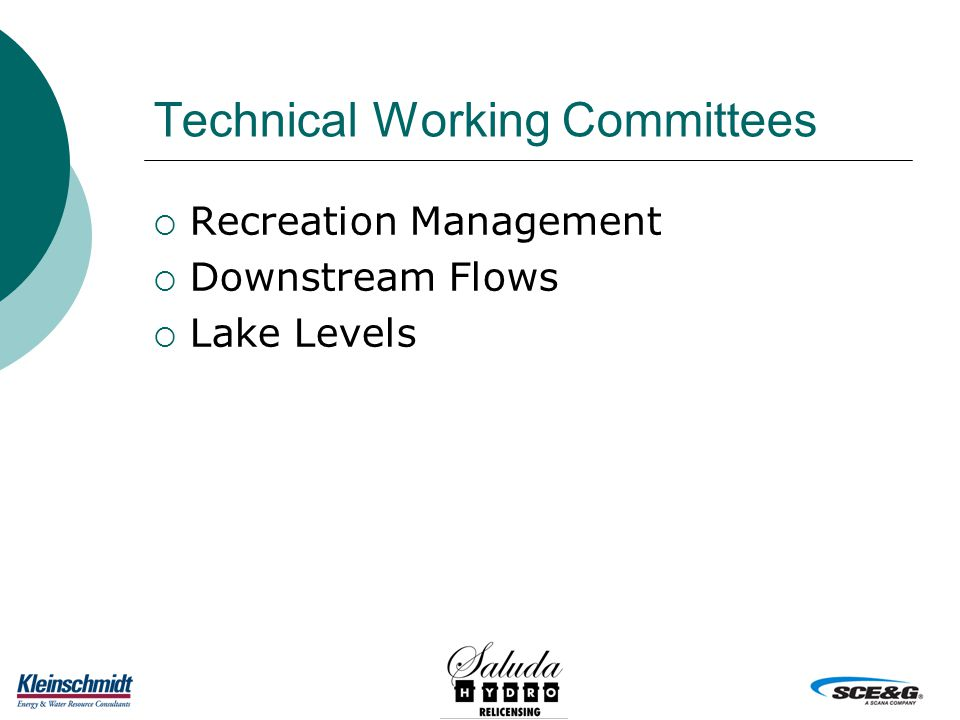 Technical Working Committees  Recreation Management  Downstream Flows  Lake Levels