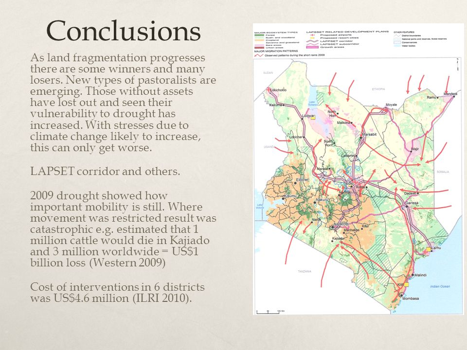 Conclusions As land fragmentation progresses there are some winners and many losers.