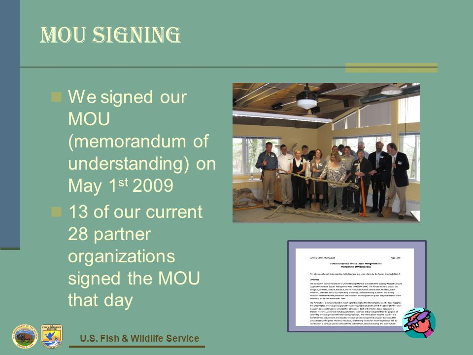 U.S. Fish & Wildlife Service MOU signing We signed our MOU (memorandum of understanding) on May 1 st 2009 13 of our current 28 partner organizations s