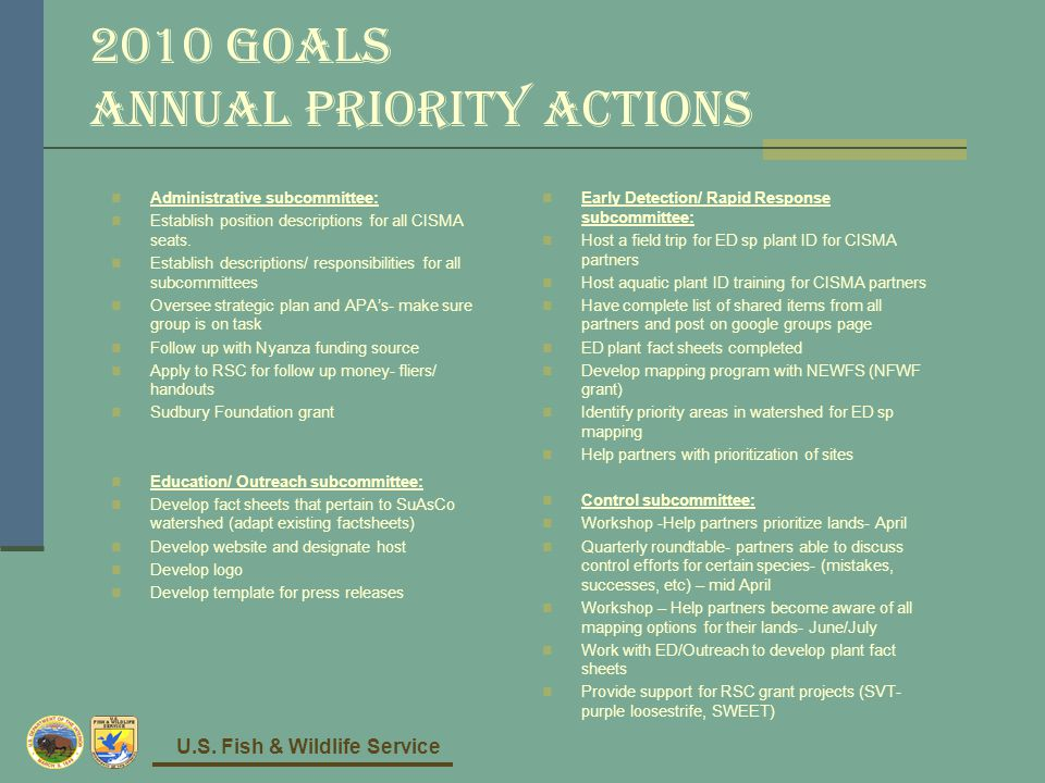 U.S. Fish & Wildlife Service 2010 Goals Annual Priority Actions Administrative subcommittee: Establish position descriptions for all CISMA seats. Esta
